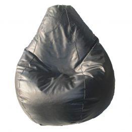 Puff pera cuerina negra - puffalexa